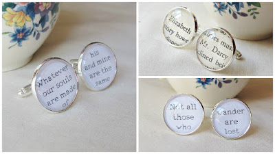 image literature cufflinks two cheeky monkeys lord of the rings wuthering heights jane austen pride and prejudice