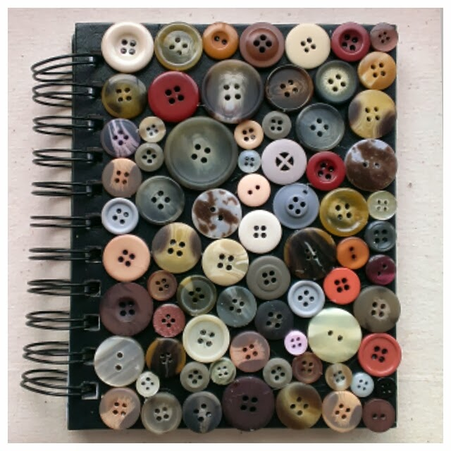 Miss Chaela Boo - Five ideas for crafting with buttons - button covered notebook