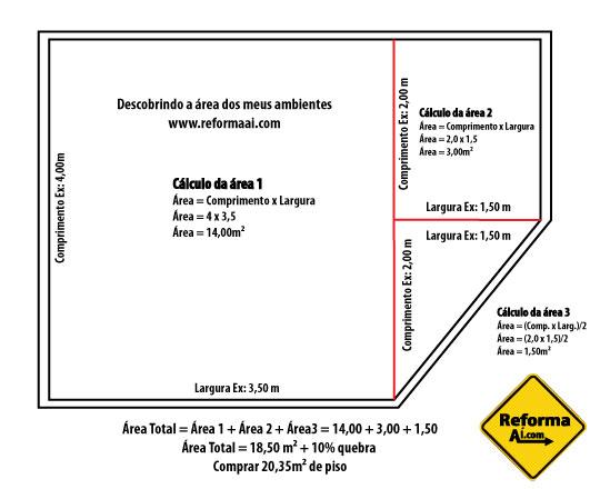 Esquema de cálculo de áreas para construção by Reformaai.com