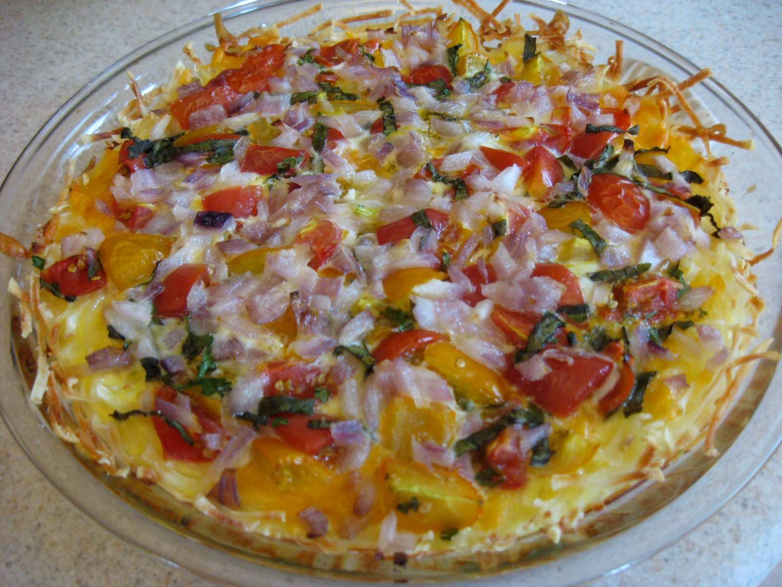 Now Things are Cookin': Tomato Basil Quiche with Potato Crust