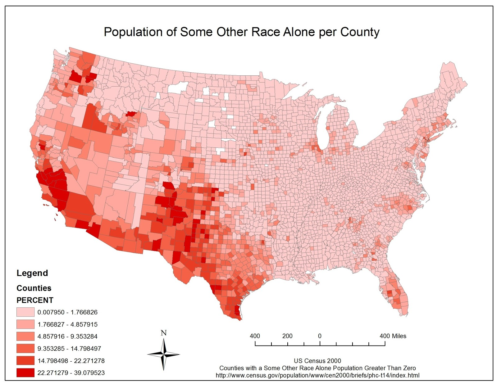 the map above shows the percentage of some other race alone in every county in the united states based off the map we can see that much of this race is