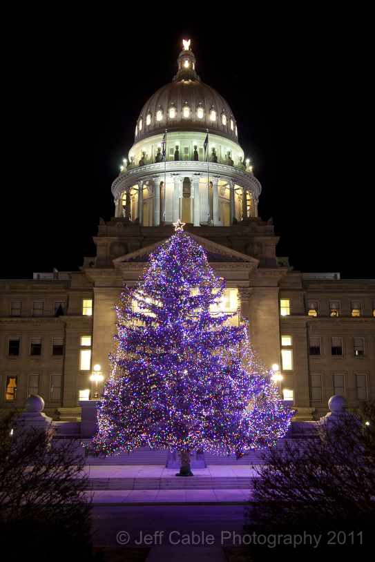 I love the way that the purple lights from the tree light the sidewalk below. This photographed beautifully in contrast to the white lights of the building. & Jeff Cableu0027s Blog: Boise Idaho: Christmas lights around the capital azcodes.com
