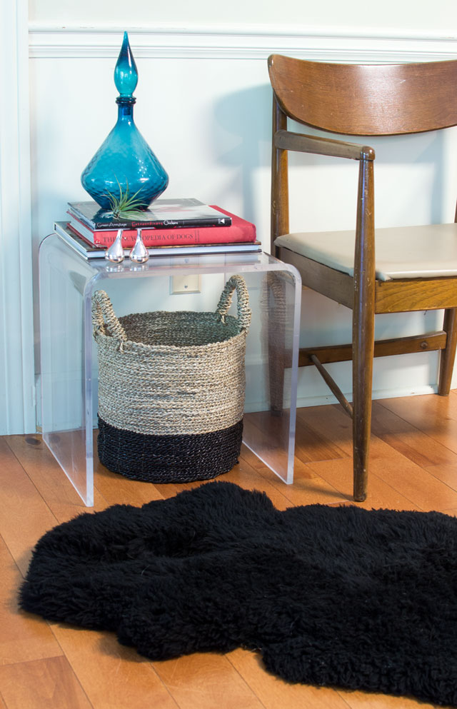 vintage acrylic side table