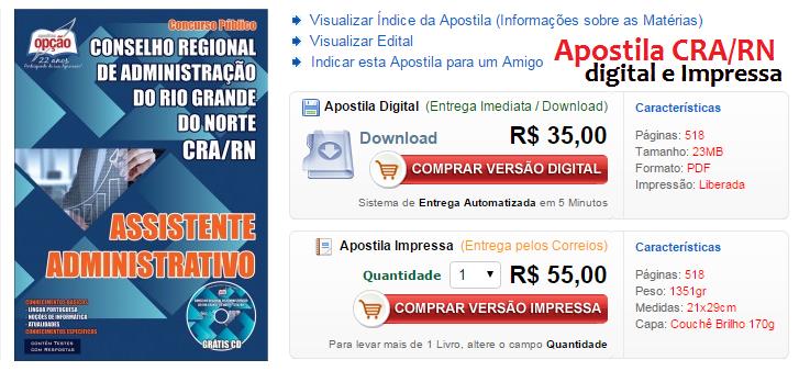 Apostila Conselho Regional de Administração do Rio Grande do Norte - 2015.