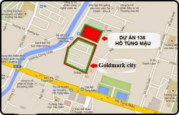 Vị trí dự án Chung cư Goldmark City 136 Hồ Tùng Mậu.