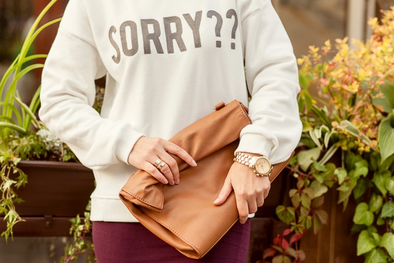 blogger, fashion, leather paper bag, sorry hoodie, gold watch