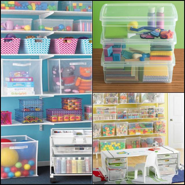 Organizando brinquedos em vasilhas