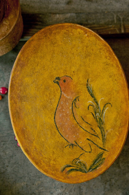"Medium ""Bride's"" Box with bird on mustard background"