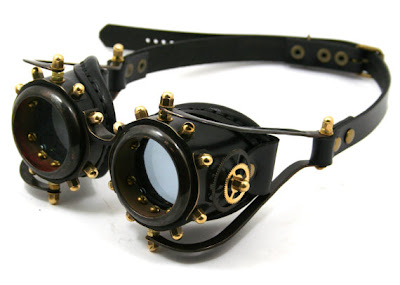 steampunk goggles in black leather