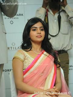 Samantha Latest Pink Transparent Net Saree Pics