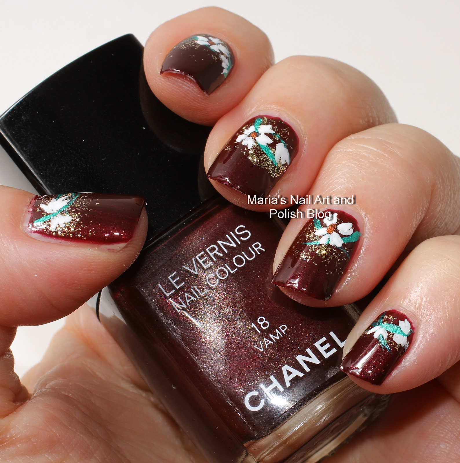 Marias nail art and polish blog flowers for a vamp nail art flowers for a vamp nail art prinsesfo Gallery