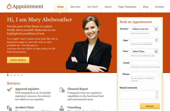 Appointment WordPress Theme Free Download by Templatic.