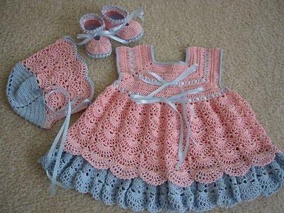 Fotos, modelos e imagens de Vestidos de Crochê para bebês