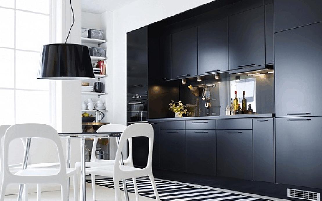 DOBRE PROJEKTY  BLOG BLACK & WHITE STRIPES -> Kuchnia Czarna Lampa