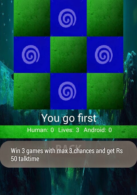 Get Rs. 50 Free Talktime for Playing Tic Tac Toe Android Game