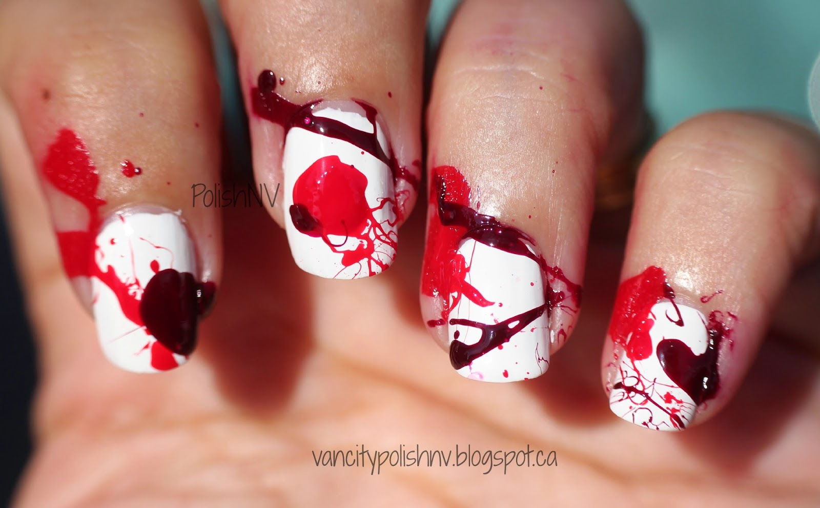 Dexter Inspired Blood Spatter Manicure