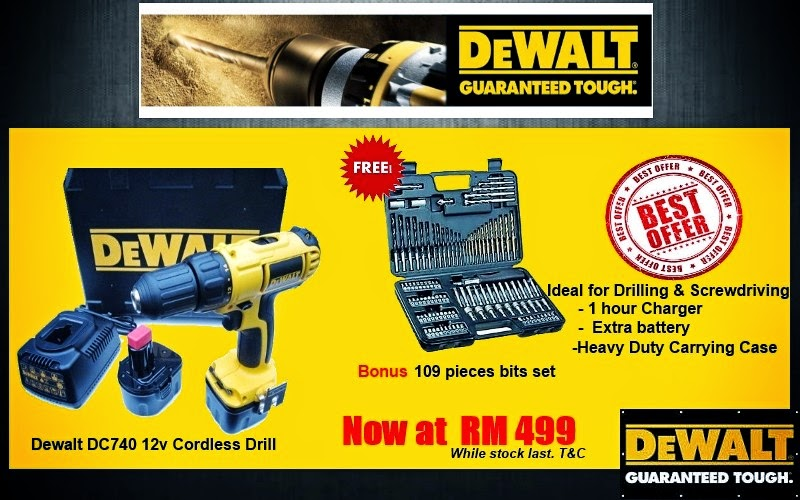 Great Promotion!!!Dewalt 12V Cordless Drill FREE Drill Bits Set EXTRA Battery