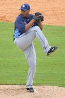 Cesar Cabral pitches against Baltimore in a spring training game on March 1.  Photo by Jim Donten.