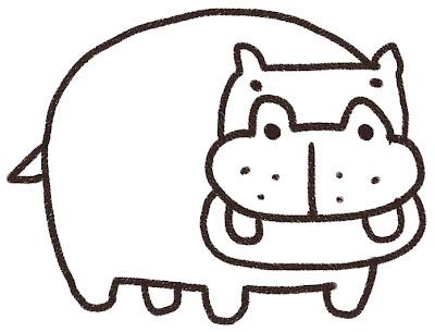 カバのイラスト(動物) 白黒線画