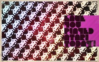 Old school Atari Space Invaders retro wallpaper