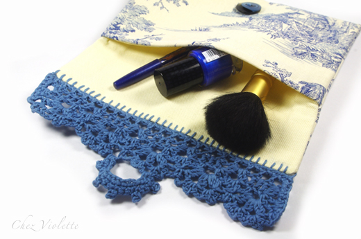 French toile bag cosmetic pouch edging crochet lace by Chez Violette