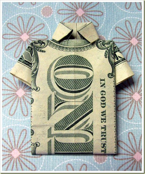 Chic souffl origami de dinero for How to make money selling t shirts