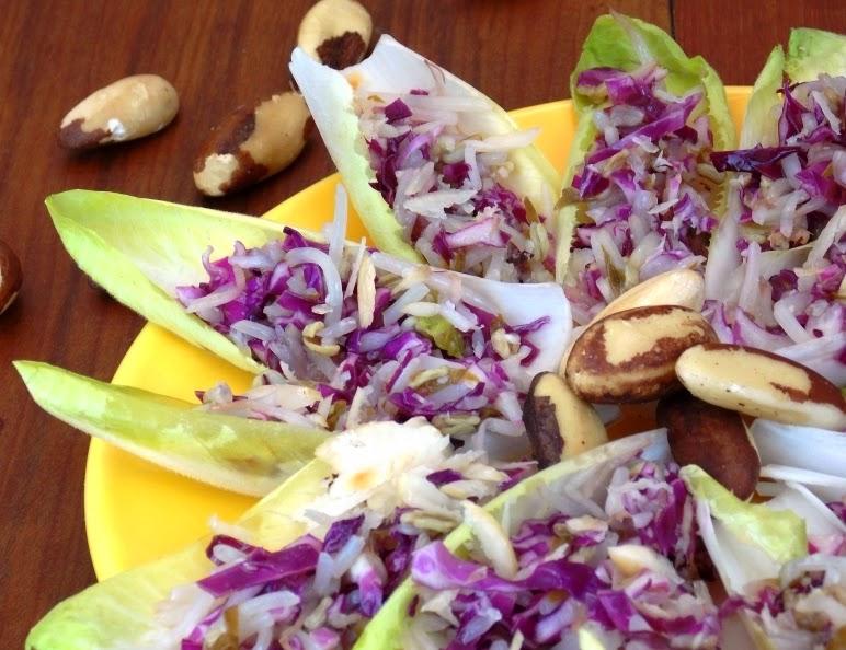 Salada de Endívia com Repolho Roxo e Broto de Feijão (vegana)