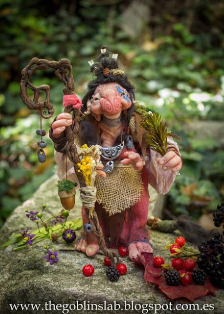 Meg Berriebag the goblin healer ooak fantasy doll