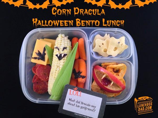 Un papa prépare une Lunch Box Halloween