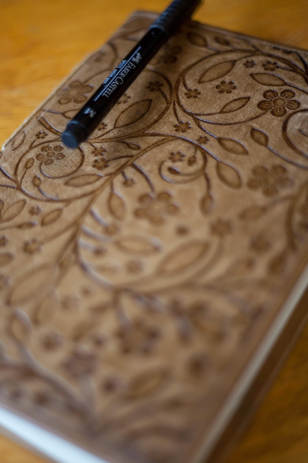 Floral print leather-bound journal