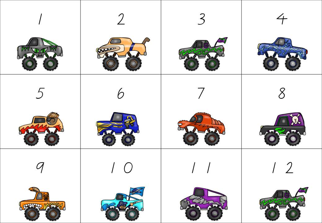 http://www.teacherspayteachers.com/Product/Monster-Truck-Matching-with-numbers-tens-frames-and-dice-faces-1348505