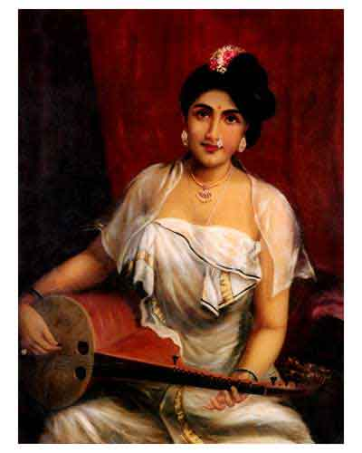 Raja Ravi Varma's Paintings: Malayali Girl Musician