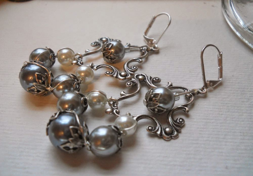 Silver and Crystal Pearl Earrings by Wind Dancer Studios