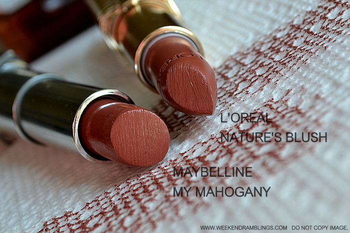 Loreal Color Riche Lipstick Natures Blush Maybelline Color Sensational My Mahogany Comparisons Peach Brown Neutral Lipsticks Indian Skin Beauty Makeup Blog Swatch FOTD Looks