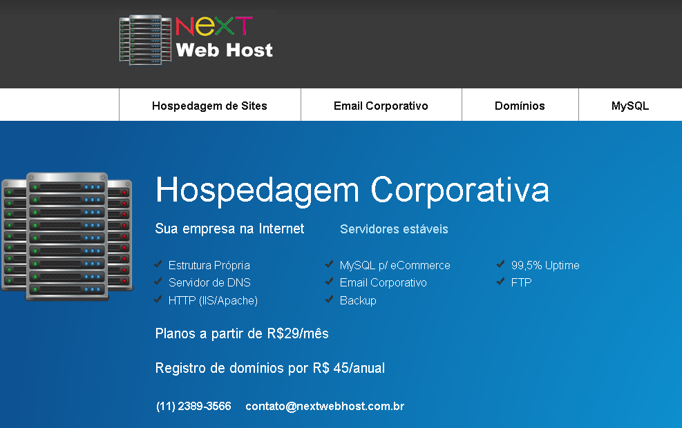 NeXT Web Host hospedagem de sites
