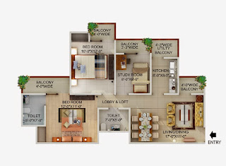 Up Country, Yamuna Expressway :: Floor Plans,Unit Plan:-2 BHK + Study Plot Area: 1155 Sq. Ft.