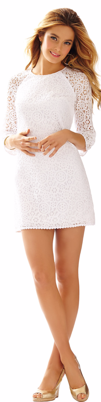 LILLY PULITZER RYLEE LACE SHIFT DRESS IN RESORT WHITE