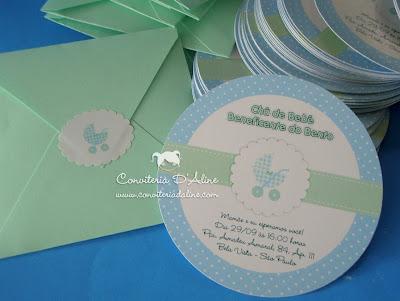 convite cha bebe menino azul verde