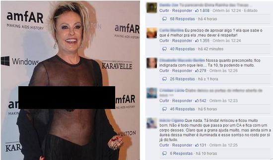 Ana Maria Braga com look transparente