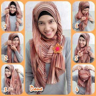 Tutorial Hijab Pashmina Sifon Motif