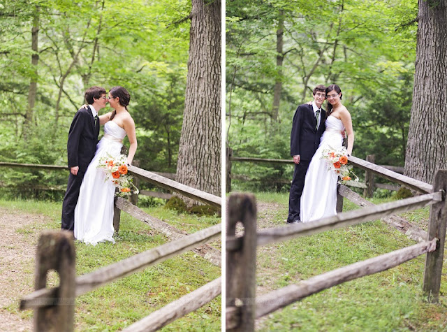 photos of bride and groom by a fence