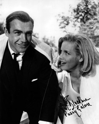 Honor Blackman & Sean Connery filming Goldfinger