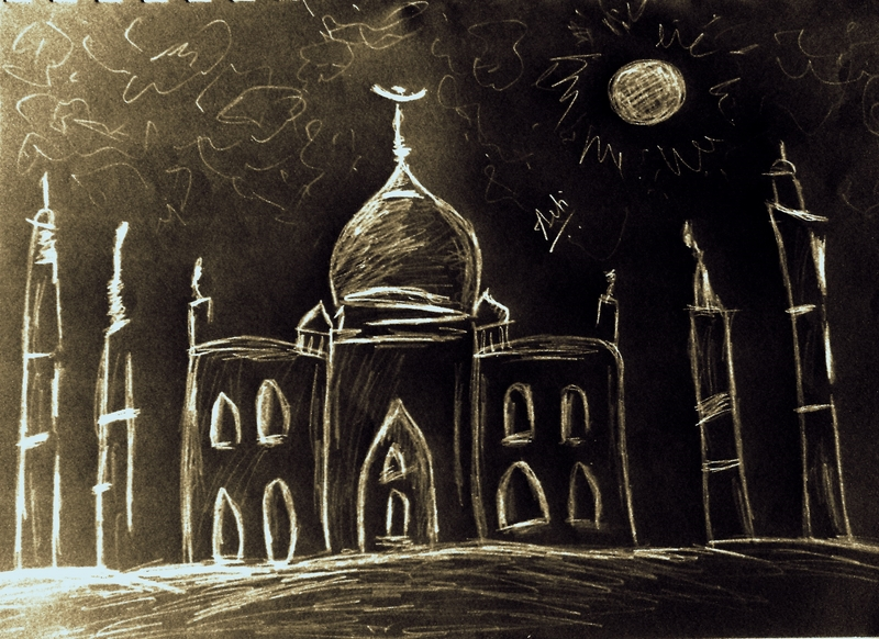 The beauty of Taj Mahal in moonlight - Doodle sketch
