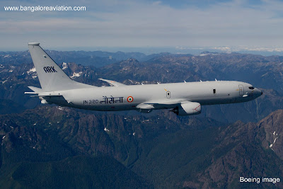 Indian Navy Boeing P-8i IN320 on its first flight