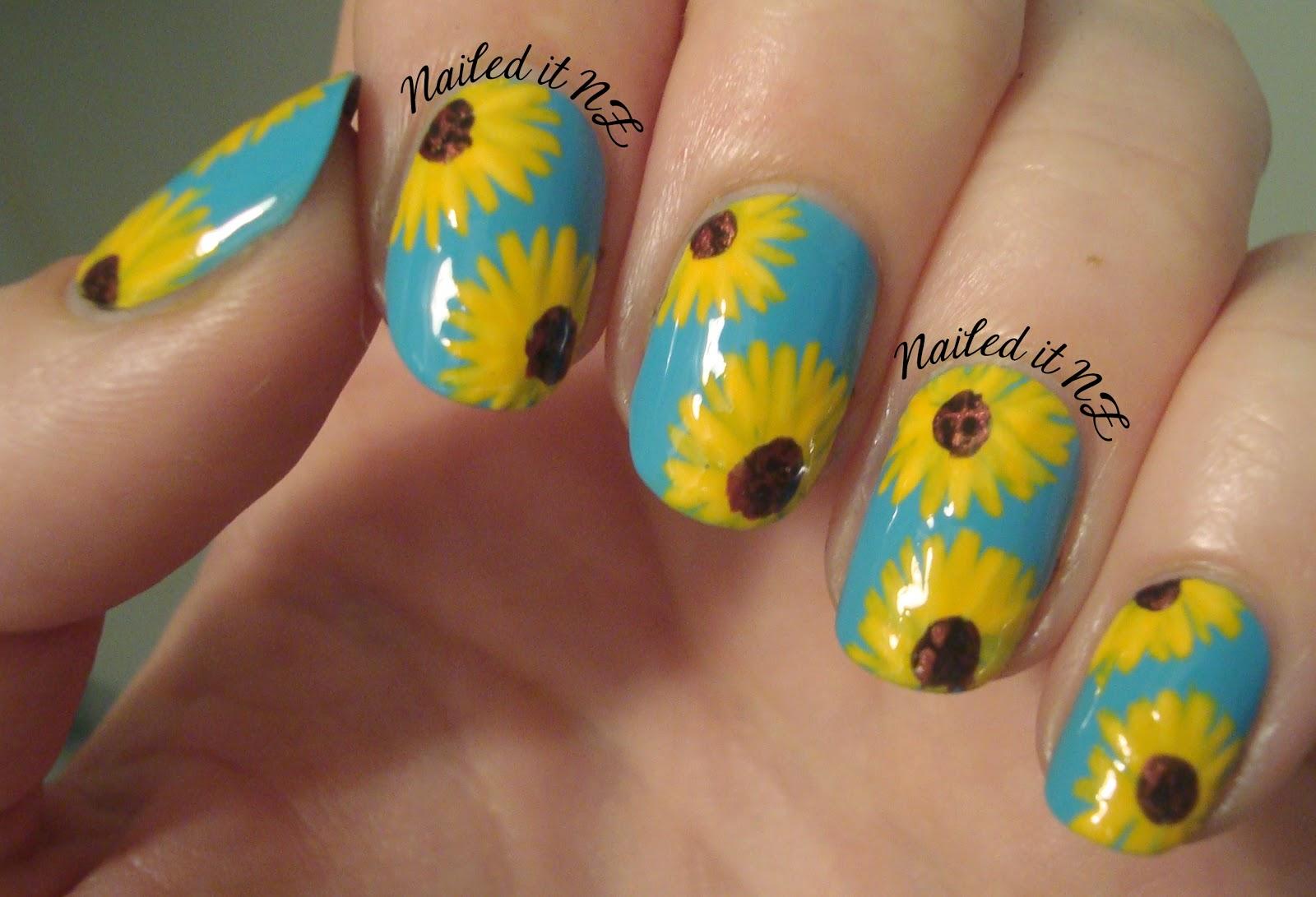 Easy Sunflower Nail Art Nailarts Ideas