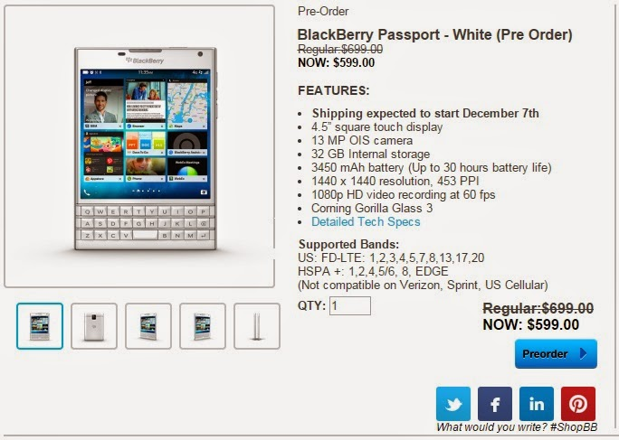 Pre-Order BlackBerry Passport putih