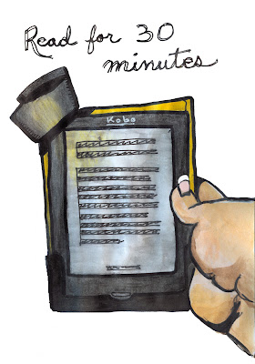 eading on my Kobo eReader Device, Watercolour and Ink, by Ana Tirolese ©2012