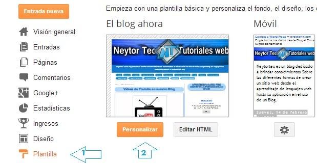 Personalizar Plantilla en Blogger