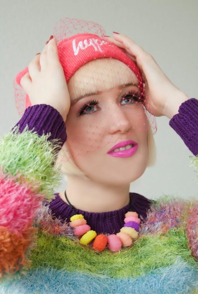 hype beanie, veiled beanie, pink beanie, lime crime pink lipstick