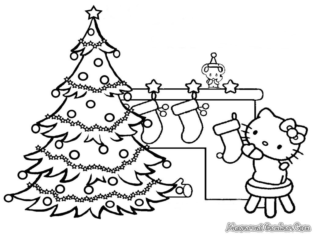 Mewarnai gambar pohon natal Hello Kitty